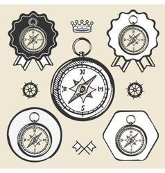 compass vintage location icon flat web sign symbol vector image