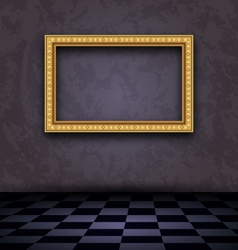 picture frame in dark empty interior - vector image