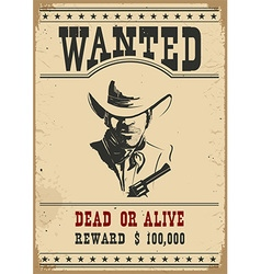 Wanted poster western vector image vector image