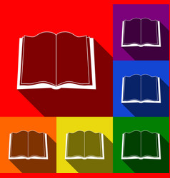book sign set of icons with flat shadows vector image vector image
