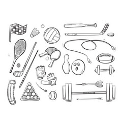 doodle sketch sports and fitness icons vector image