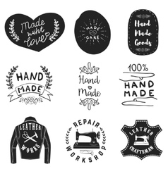 Handmade products labels Leather workshop emblems vector image