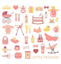 newborn girl icons vector image