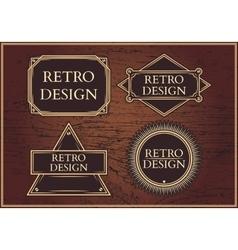 Set hipster emblems on a brown background vector image vector image