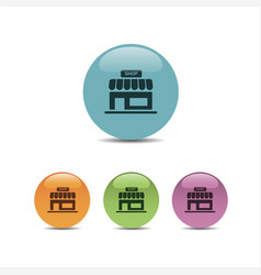 shop icon on a colored round buttons vector image