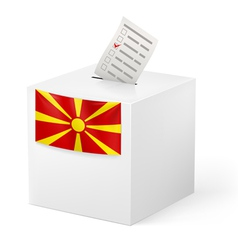 Ballot box with voicing paper macedonia vector