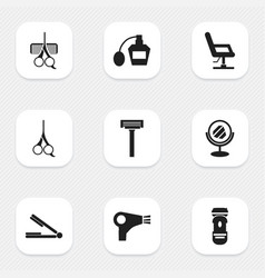 set of 9 editable coiffeur icons includes symbols vector image vector image