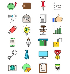 Set of color business icons vector image vector image