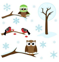 set of winter elements vector image