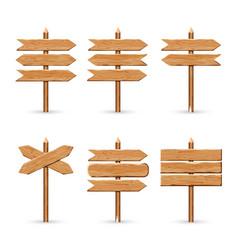 wooden arrow signs board set wood vector image