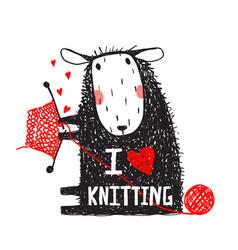 i love knitting sheep print with sign vector image vector image