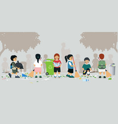kids are sweeping vector image