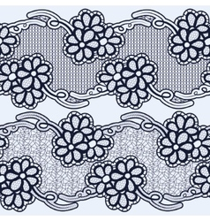 Set of seamless lace ribbons Black flowers on a vector image