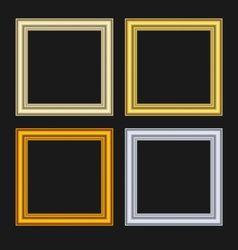 set picture frames isolated on black background - vector image