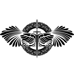 sword with wings on patterned circle vector image vector image