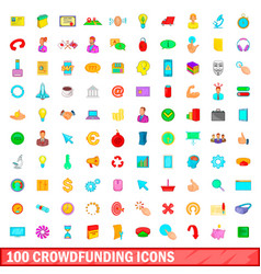 100 crowdfunding icons set cartoon style vector
