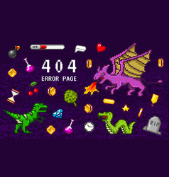 404 error page not found pixel art 8 bit objects vector