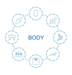 8 body icons vector