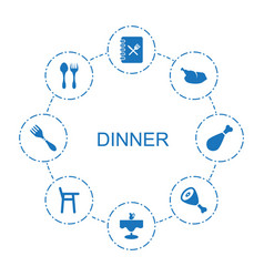 8 dinner icons vector image