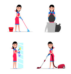 a set cartoon girl cleaning vector image