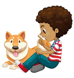 African american boy and a pet dog vector image