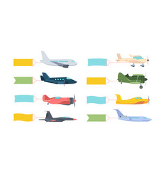 airplanes with banner set modern retro aircraft vector image