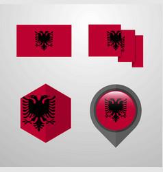 Albania flag design set vector