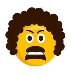 angry retro emoji icon vector image