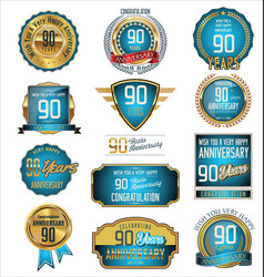 anniversary blue and gold labels 90 years vector image