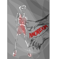 Anorexia nutrition disorder concept vector