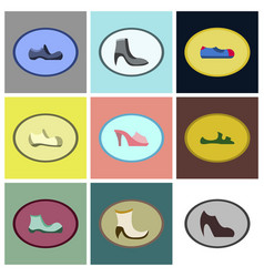 Assembly flat icons shoes vector