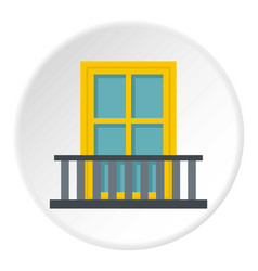 Balcony with a yellow window icon circle vector