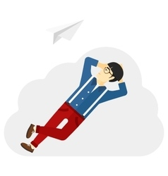 Businessman relaxing on cloud vector