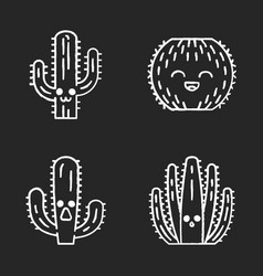 Cactuses chalk icons set vector