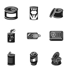 Can food tins icon set simple style vector
