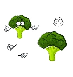 Cartoon broccoli vegetable with green head vector