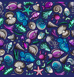 Cartoon under water life seamless pattern vector