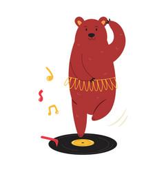 Cheerful a ballerina bear dancing vector