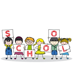 children with school posters vector image