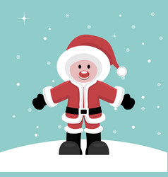 Christmas card of santa claus child under snow vector