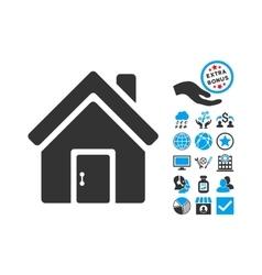 Closed House Door Flat Icon With Bonus vector image