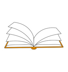 Color silhouette image top view book opened vector