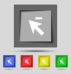 Cursor arrow minus icon sign on the original five vector image