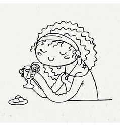 Cute doodle girl with cup of tea and chocolate vector