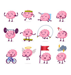 Cute pink brain with various emotions set funny vector