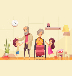 elderly people family help vector image
