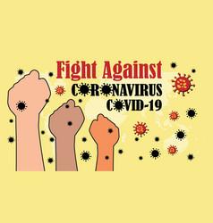Fight againts coronavirus in world vector