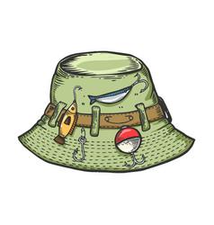 Fisherman hat sketch engraving vector