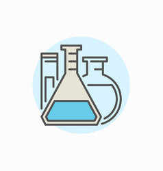 Flasks and test tube colorful icon vector