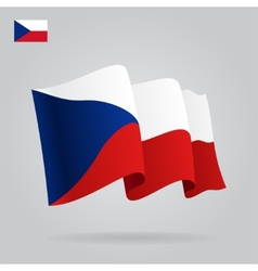 Flat and waving Czech Republic Flag vector image